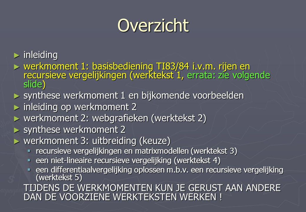 Overzicht inleiding. werkmoment 1: basisbediening TI83/84 i.v.m. rijen en recursieve vergelijkingen (werktekst 1, errata: zie volgende slide)