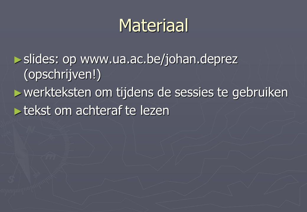 Materiaal slides: op www.ua.ac.be/johan.deprez (opschrijven!)