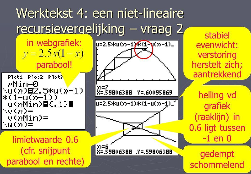 Werktekst 4: een niet-lineaire recursievergelijking – vraag 2