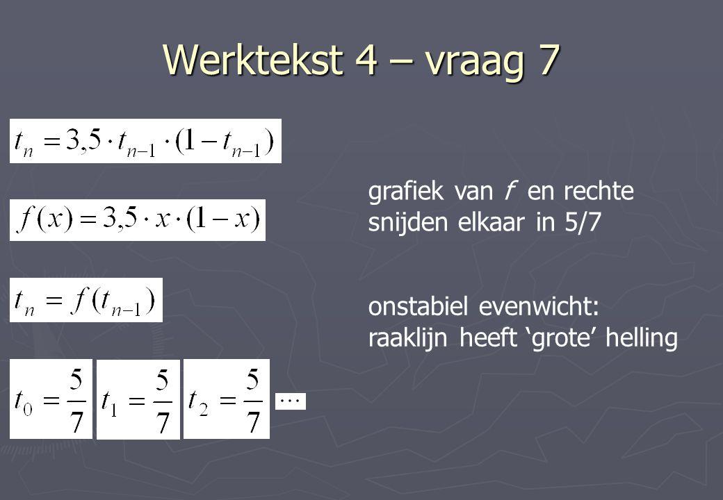 Werktekst 4 – vraag 7 grafiek van f en rechte snijden elkaar in 5/7