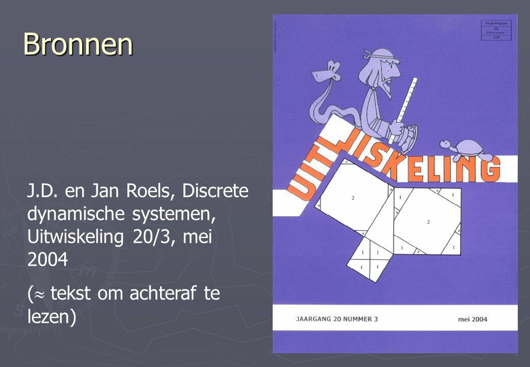 Bronnen J.D. en Jan Roels, Discrete dynamische systemen, Uitwiskeling 20/3, mei 2004.