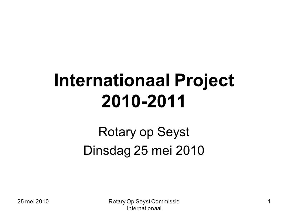 Internationaal Project 2010-2011
