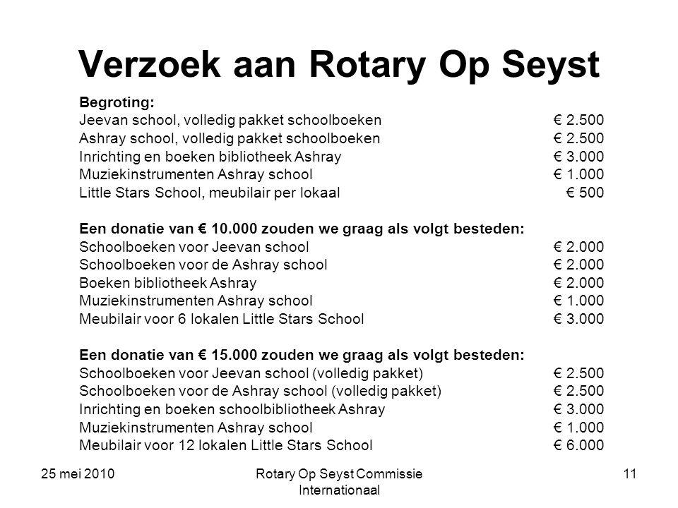 Verzoek aan Rotary Op Seyst