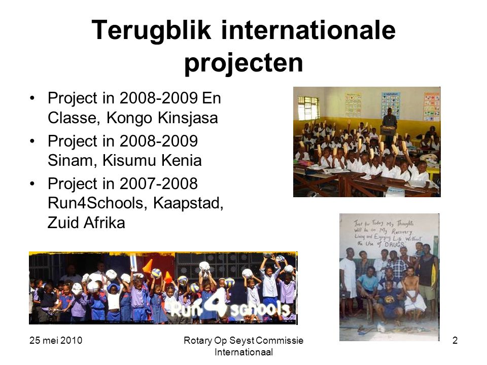 Terugblik internationale projecten