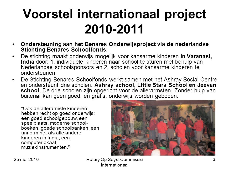 Voorstel internationaal project 2010-2011