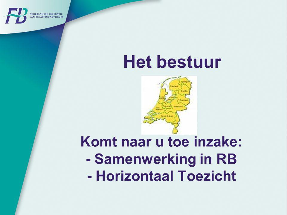 Komt naar u toe inzake: - Samenwerking in RB - Horizontaal Toezicht