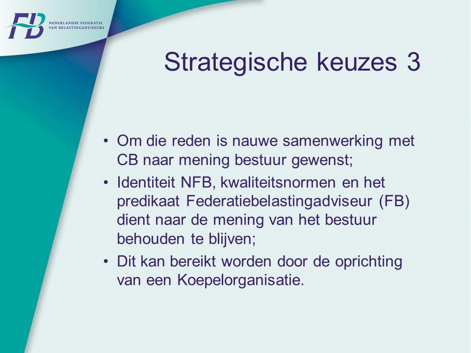 Strategische keuzes 3 Om die reden is nauwe samenwerking met CB naar mening bestuur gewenst;