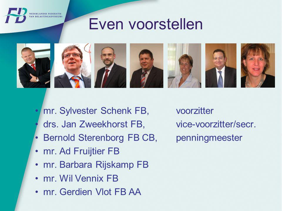 Even voorstellen mr. Sylvester Schenk FB, voorzitter