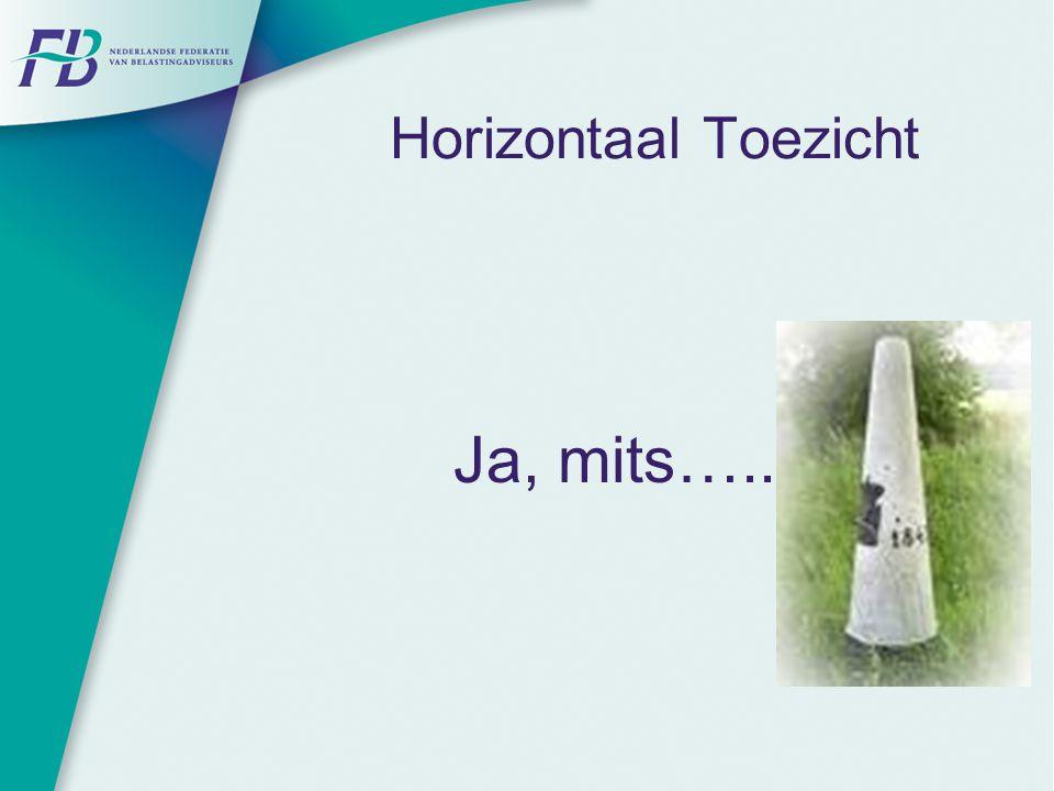 Horizontaal Toezicht Ja, mits…..