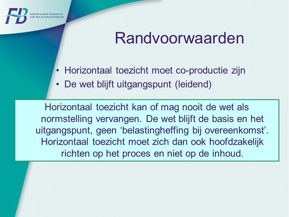 Randvoorwaarden Horizontaal toezicht moet co-productie zijn