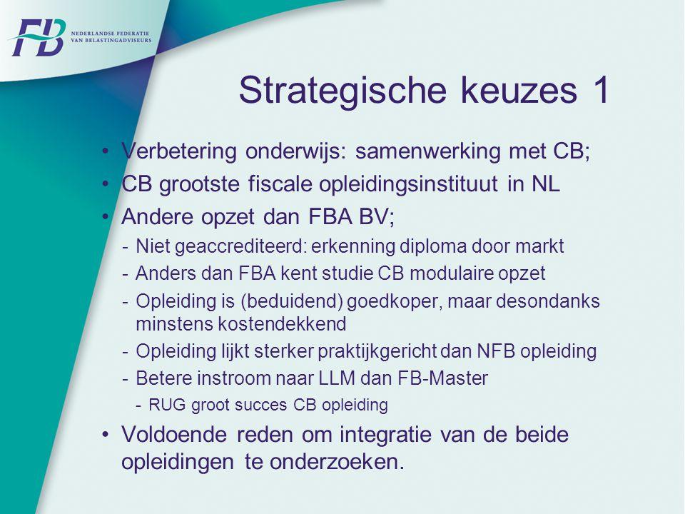 Strategische keuzes 1 Verbetering onderwijs: samenwerking met CB;