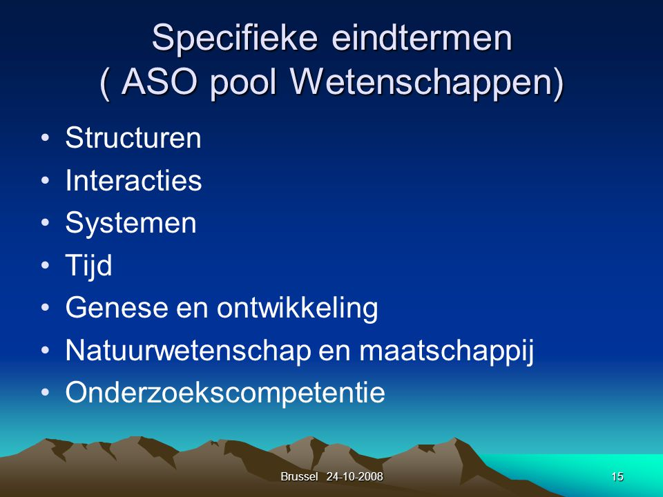 Specifieke eindtermen ( ASO pool Wetenschappen)