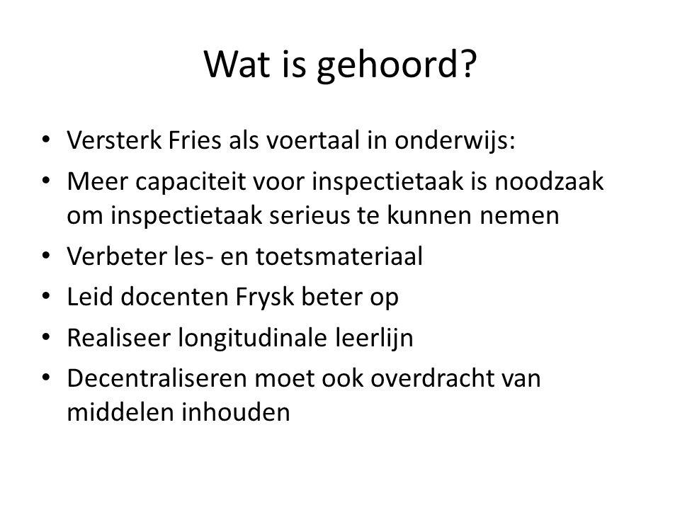 Wat is gehoord Versterk Fries als voertaal in onderwijs: