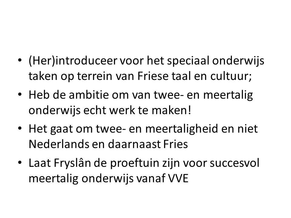 (Her)introduceer voor het speciaal onderwijs taken op terrein van Friese taal en cultuur;