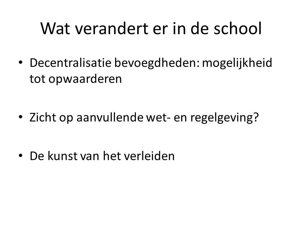 Wat verandert er in de school