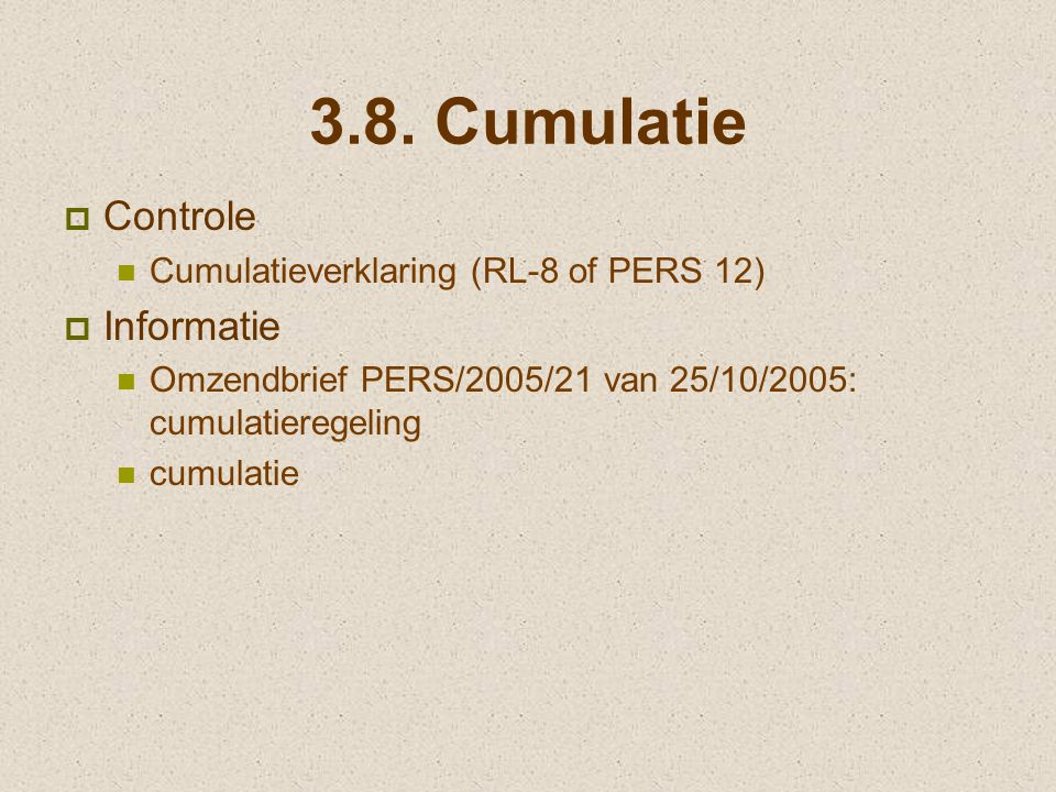 3.8. Cumulatie Controle Informatie