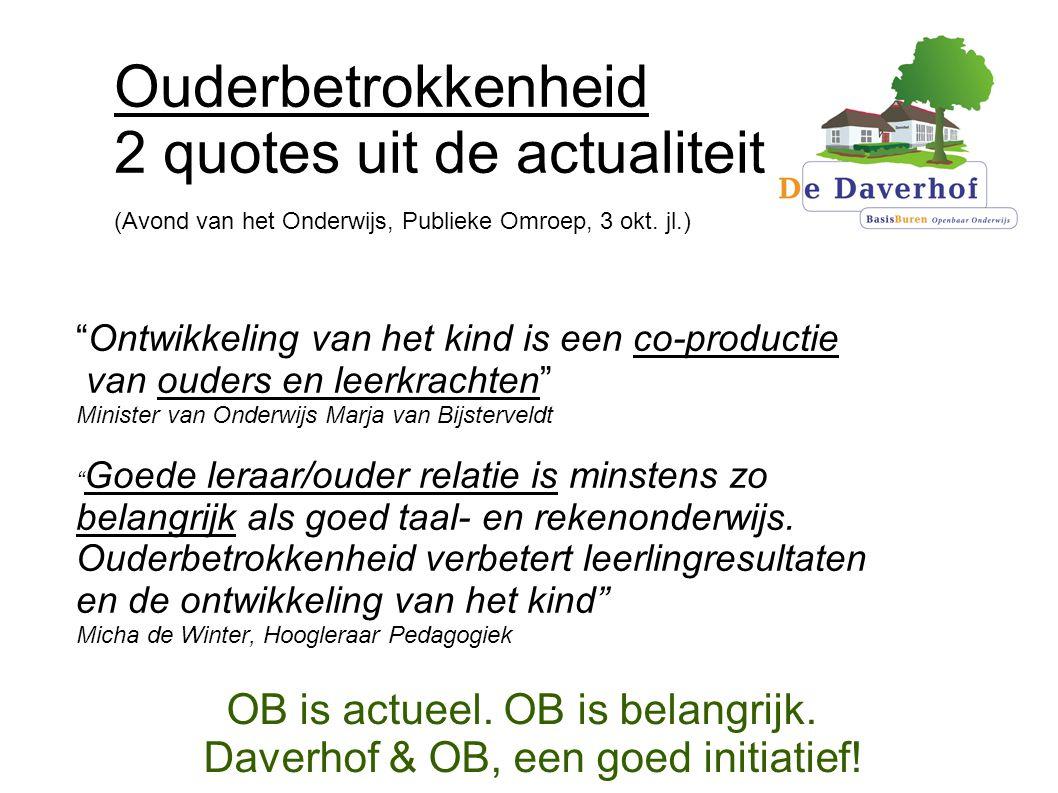 OB is actueel. OB is belangrijk. Daverhof & OB, een goed initiatief!