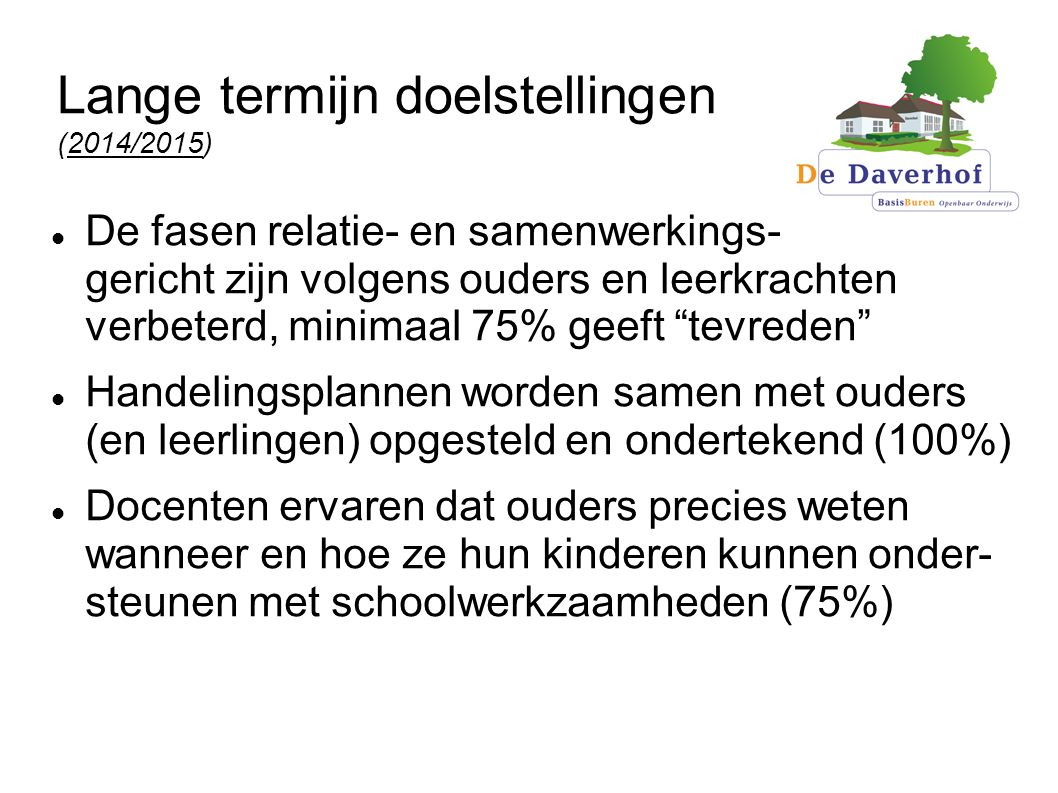 Lange termijn doelstellingen (2014/2015)