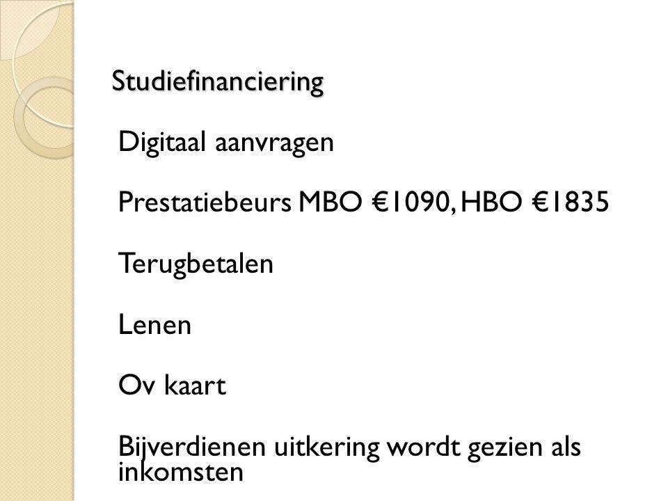 Studiefinanciering Digitaal aanvragen. Prestatiebeurs MBO €1090, HBO €1835. Terugbetalen. Lenen.