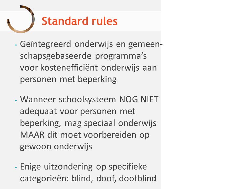 Standard rules Geïntegreerd onderwijs en gemeen- schapsgebaseerde programma's voor kostenefficiënt onderwijs aan personen met beperking.