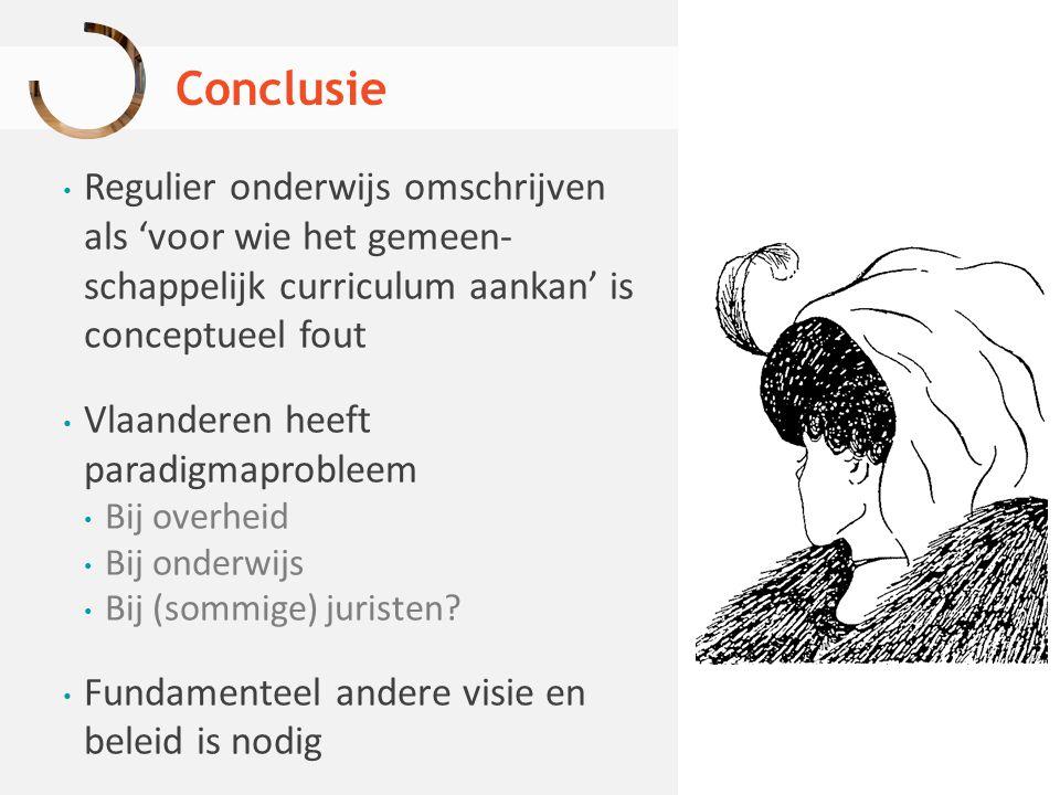 Conclusie Regulier onderwijs omschrijven als 'voor wie het gemeen- schappelijk curriculum aankan' is conceptueel fout.