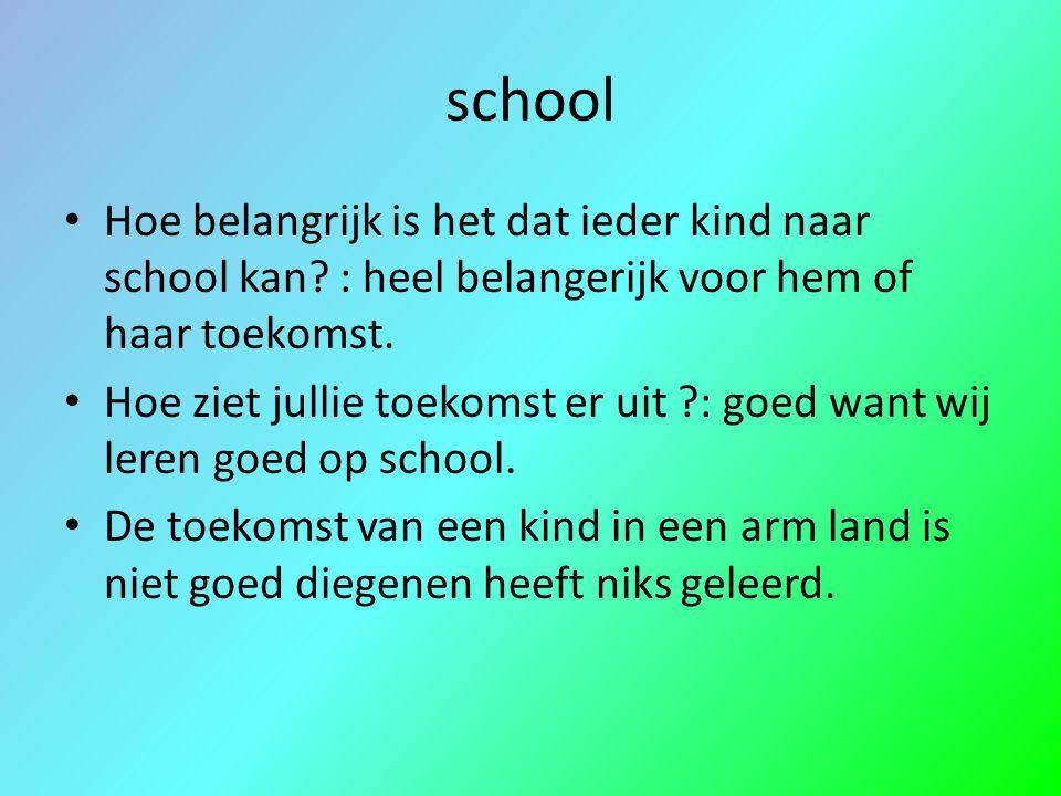 school Hoe belangrijk is het dat ieder kind naar school kan : heel belangerijk voor hem of haar toekomst.