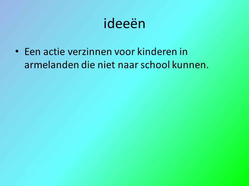 ideeën Een actie verzinnen voor kinderen in armelanden die niet naar school kunnen.