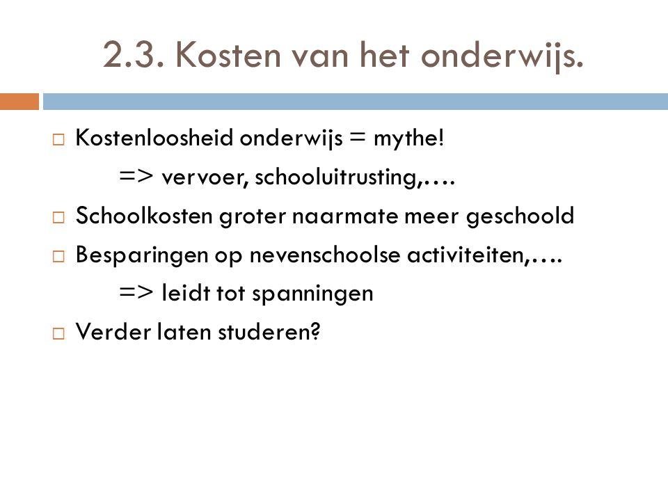 2.3. Kosten van het onderwijs.