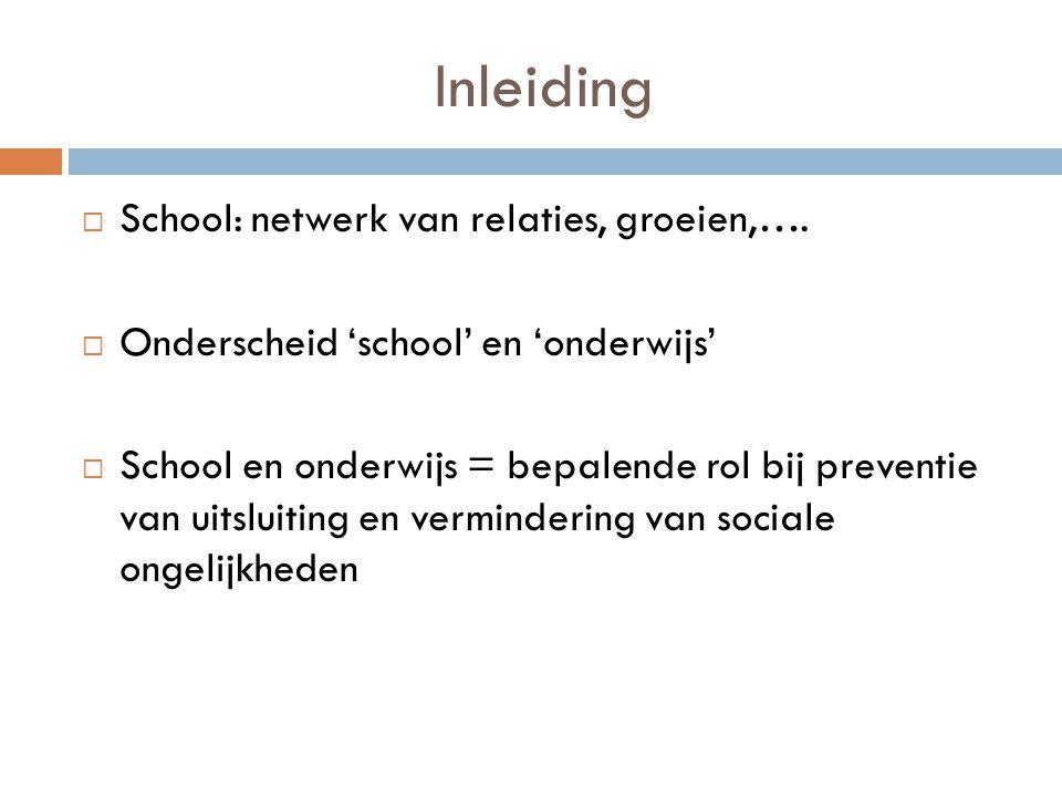 Inleiding School: netwerk van relaties, groeien,….