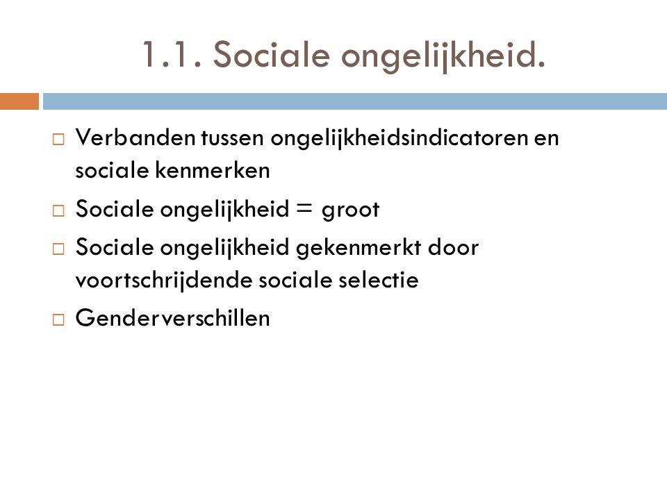 1.1. Sociale ongelijkheid. Verbanden tussen ongelijkheidsindicatoren en sociale kenmerken. Sociale ongelijkheid = groot.