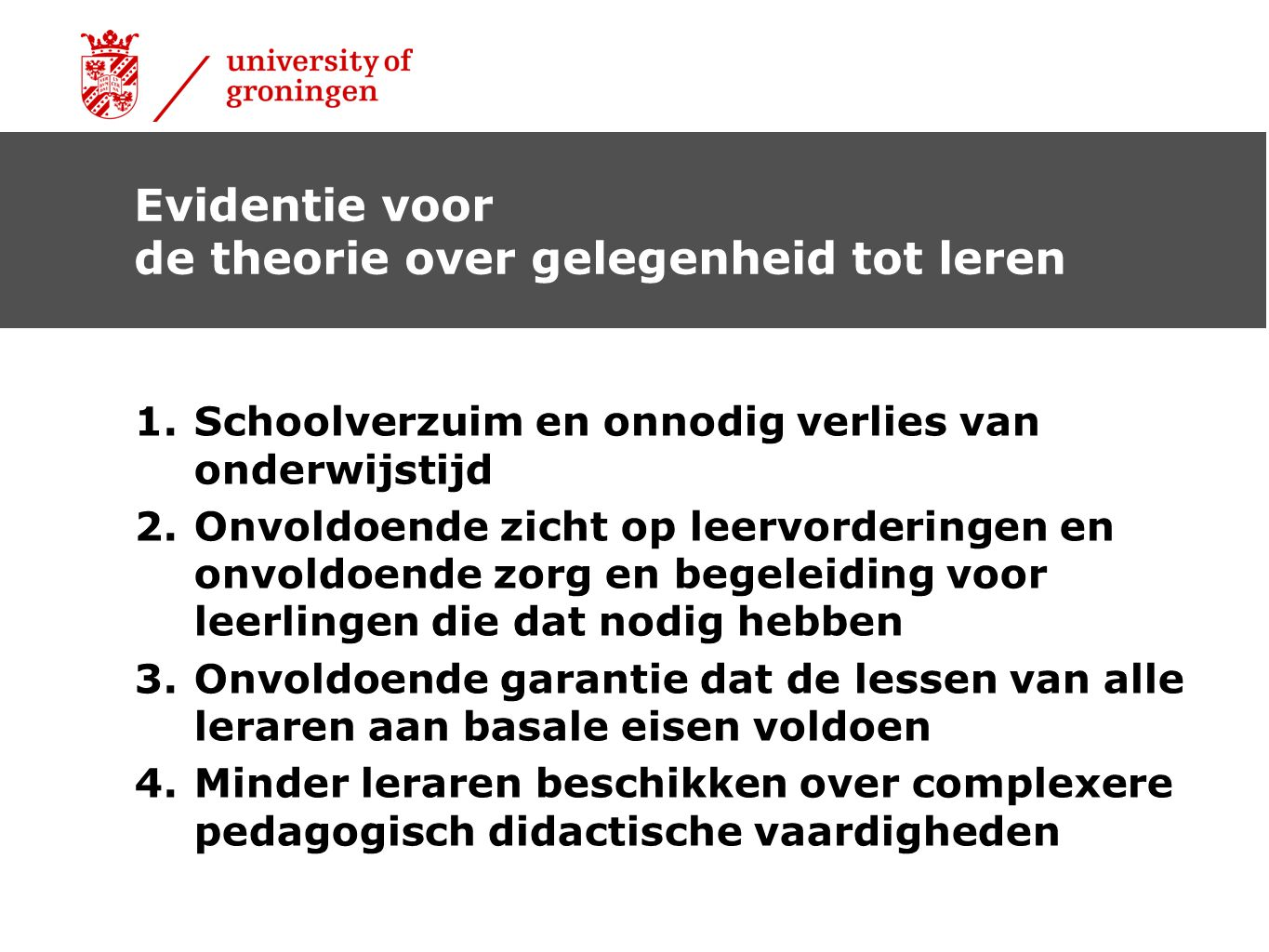 de theorie over gelegenheid tot leren