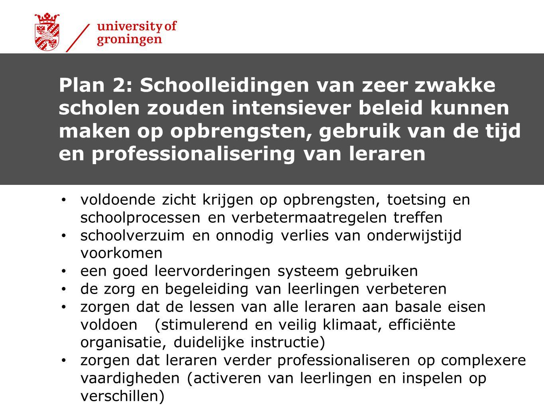 Plan 2: Schoolleidingen van zeer zwakke scholen zouden intensiever beleid kunnen maken op opbrengsten, gebruik van de tijd en professionalisering van leraren