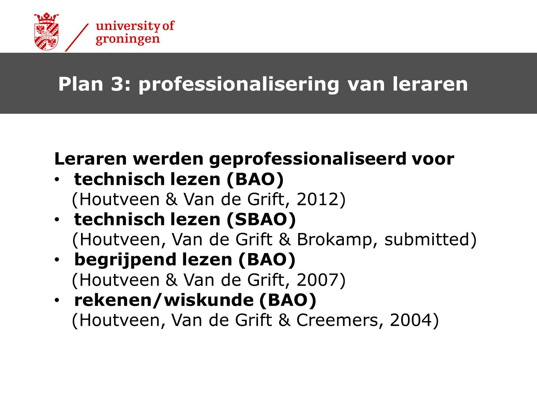 Plan 3: professionalisering van leraren