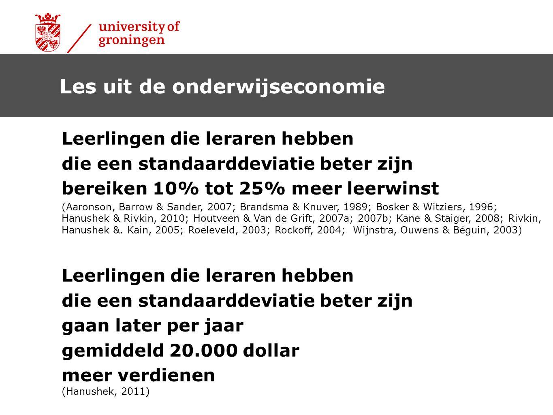 Les uit de onderwijseconomie