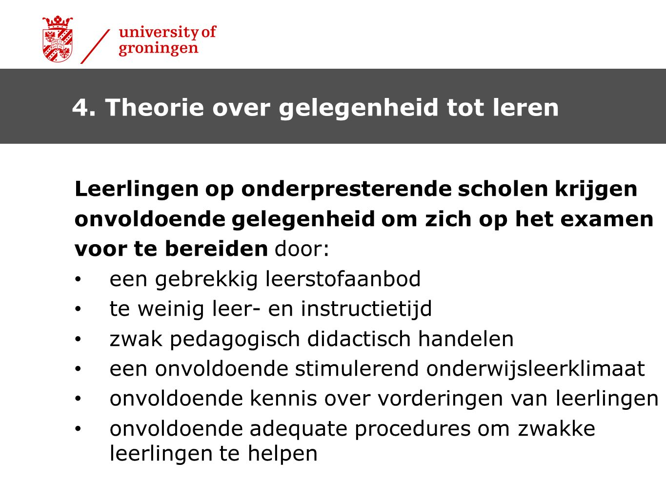 4. Theorie over gelegenheid tot leren