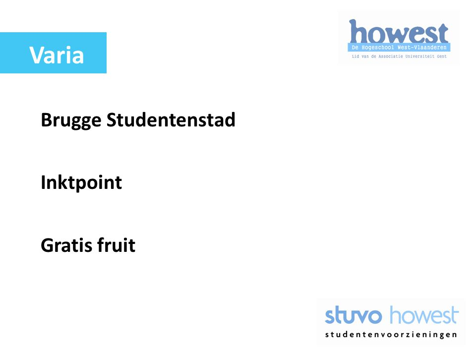 Varia Brugge Studentenstad Inktpoint Gratis fruit