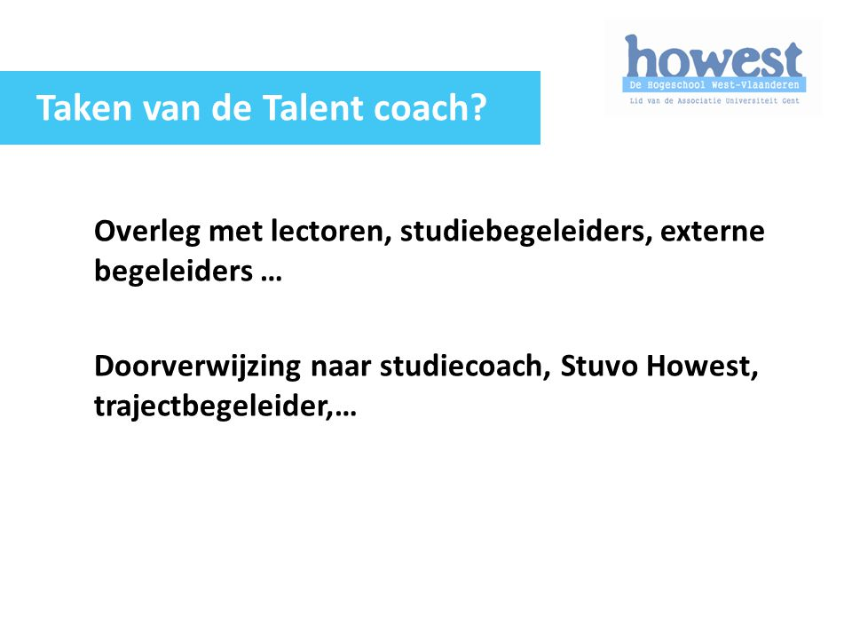 Taken van de Talent coach