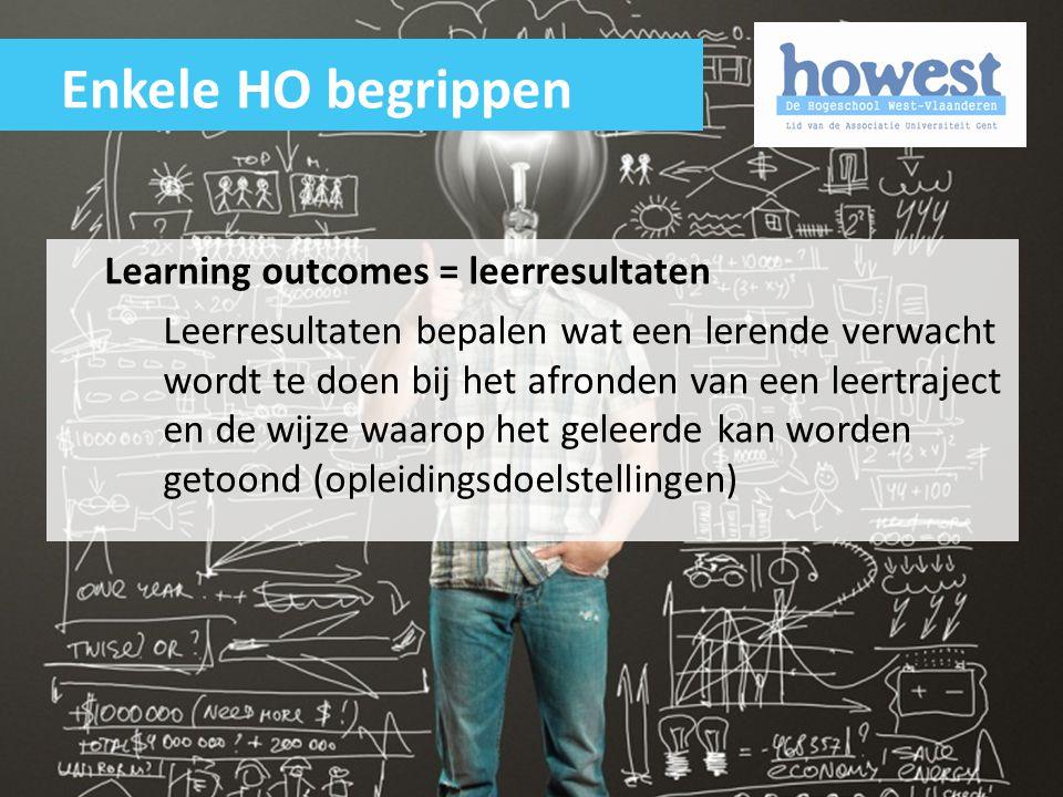 Enkele HO begrippen Learning outcomes = leerresultaten
