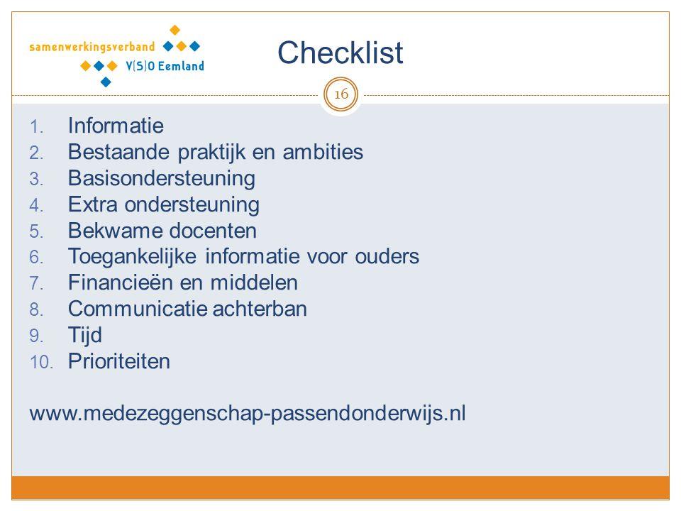 Checklist Informatie Bestaande praktijk en ambities Basisondersteuning