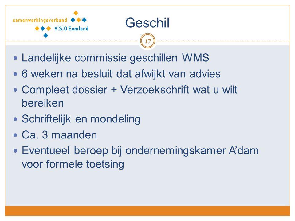 Geschil Landelijke commissie geschillen WMS