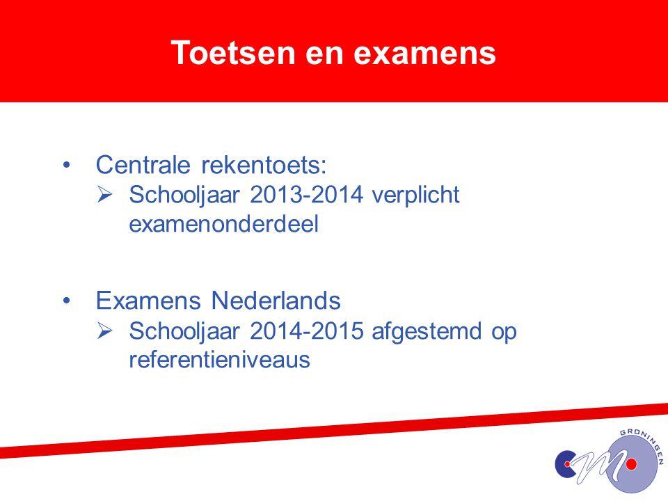 Toetsen en examens Centrale rekentoets: Examens Nederlands