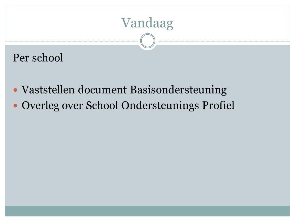 Vandaag Per school Vaststellen document Basisondersteuning