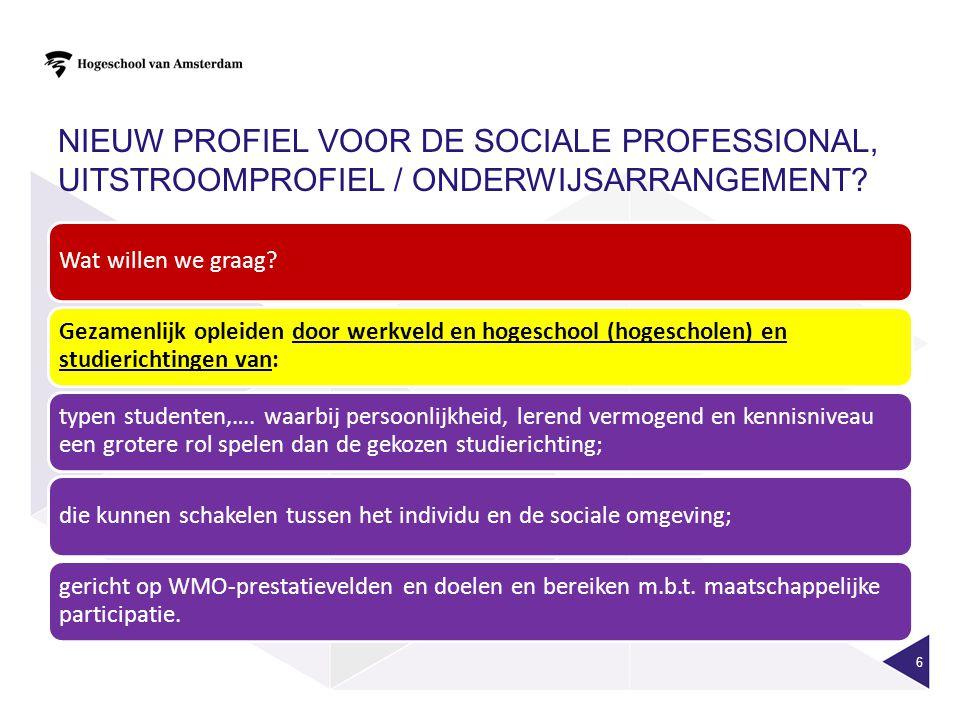 Nieuw profiel voor de sociale professional, uitstroomprofiel / onderwijsarrangement