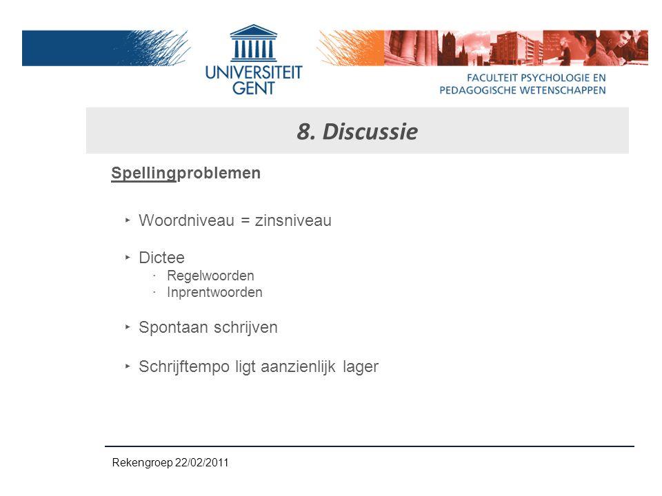 8. Discussie Spellingproblemen Woordniveau = zinsniveau Dictee