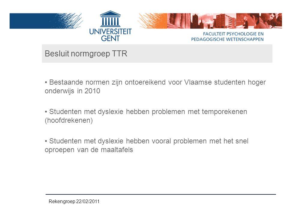 Besluit normgroep TTR Bestaande normen zijn ontoereikend voor Vlaamse studenten hoger onderwijs in 2010.