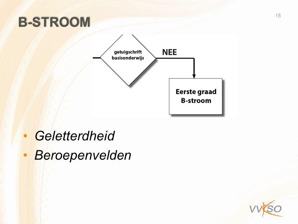 B-stroom Geletterdheid Beroepenvelden