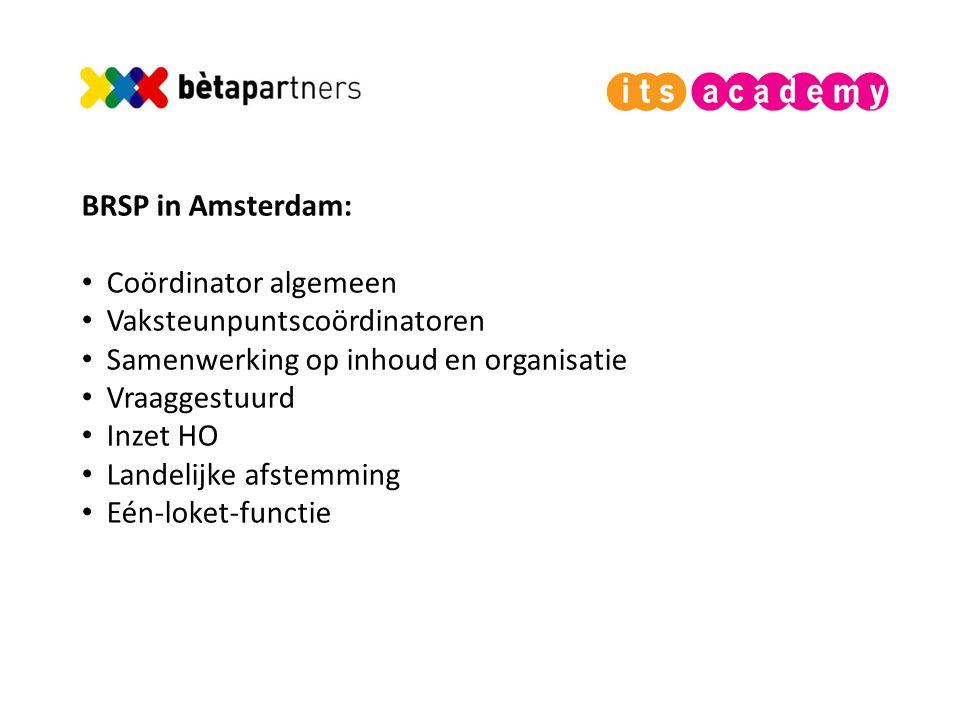 BRSP in Amsterdam: Coördinator algemeen. Vaksteunpuntscoördinatoren. Samenwerking op inhoud en organisatie.