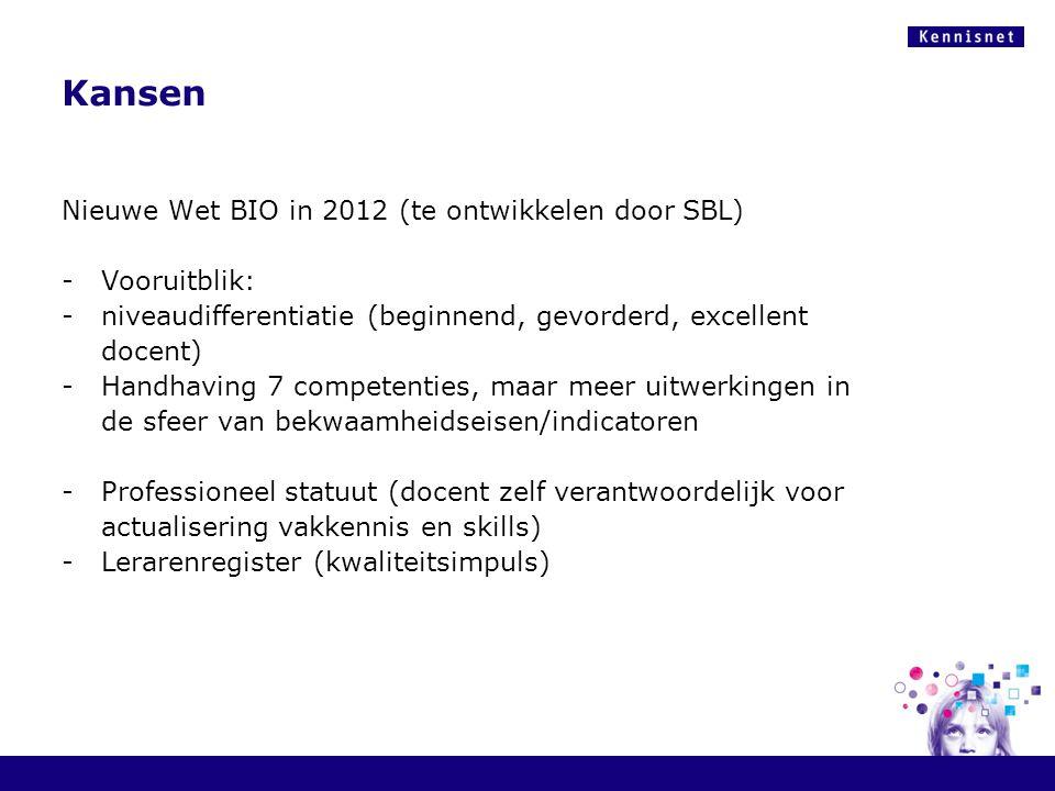 Kansen Nieuwe Wet BIO in 2012 (te ontwikkelen door SBL) Vooruitblik: