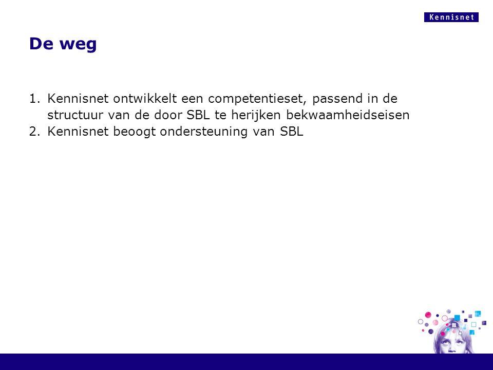 De weg Kennisnet ontwikkelt een competentieset, passend in de structuur van de door SBL te herijken bekwaamheidseisen.