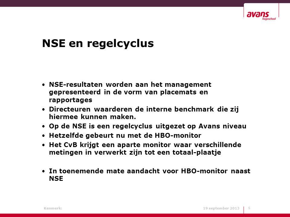 NSE en regelcyclus NSE-resultaten worden aan het management gepresenteerd in de vorm van placemats en rapportages.